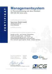 Zertifikat über die Übereinstimmung des Managementsystems mit der Norm ISO 9001:2015
