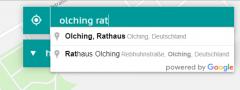 Ausschnitt eines Screenshots des Buchungssystems, der die automatische Adressvervollständigung im Eingabefeld für den Standort demonstriert.