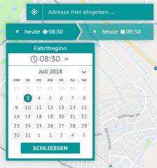 Ausschnitt eines Screenshots des Buchungssystems, der die Eingabemaske für den Fahrtbeginn anzeigt. Mit einem Kalender ist das Datum auswählbar. An einem Dropdown kann die Zeit ausgewählt werden.