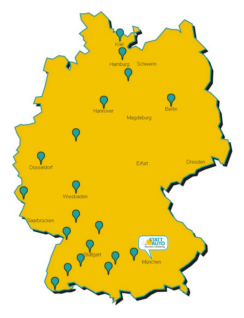 deutschlandkarte skizze Skizze Quernutzung – Deutschlandkarte mit Staedten – STATTAUTO