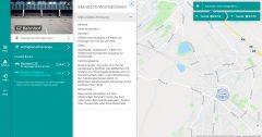 Screenshot des Buchungssystems mit einer Karte von Gröbenzell. In der Seitenleiste sind die Standortinformationen ausgeklappt und zeigen eine Beschreibung der Lage, Erreichbarkeit und weiterer Stationsdetails.