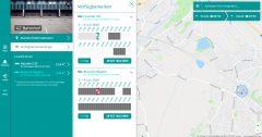 Screenshot des Buchungssystems mit einer Karte von Gröbenzell. In der Seitenleiste zeigt die aufgeklappte Verfügbarkeitsanzeige für die Fahrzeuge auf einer Zeitleiste an, wann sie verfügbar bzw. bereits gebucht sind.